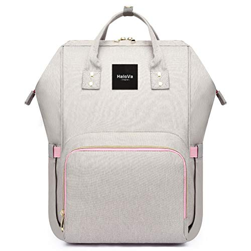 HaloVa Diaper Bag Multi-Function Waterproof Travel Backpack Nappy Bags for Baby Care, Large Capacity, Stylish and Durable Light Gray
