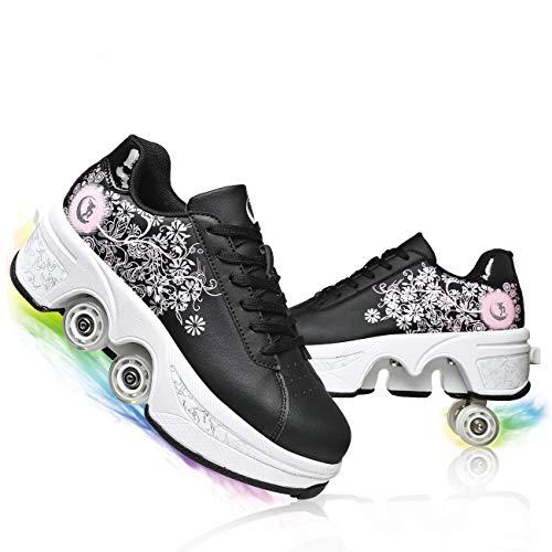 JZIYH Niños Ajustable Cuatro Ruedas Patines 2 En 1 Deformación Multifunción Casual Unisex Roller Zapatos Deportivos Zapatos para Principiantes