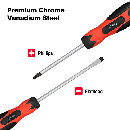 Magnetic Screwdriver Set,5 Pieces Slotted and Phillips Screwdriver with Ergonomic Comfortable Non-skid Handle,Permanent Magnetic Tips,Rust Resistant Heavy Duty Craftsman Toolkit For Wet, Oily Hand