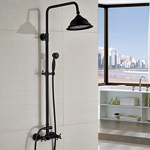 KEKEYANG cuarto de baño todo cobre y bronce europeo retro ducha grifo elevador bañera y ducha conjunto delicado sistema de ducha