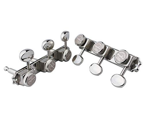 Guyker Guitar Locking Tuners on a Plate 3R-3L – Vintage Style Lock String Tuning Key Pegs Machine Heads Replacement, Nickel