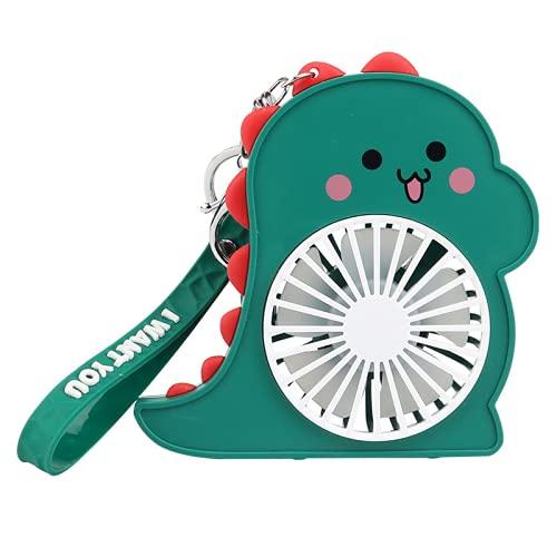 CHENXTT Mini ventilador de mano portátil de 2 velocidades para coche, exterior, deporte, oficina, viajes, verano, dinosaurio, con luz nocturna, USB, pequeño ventilador verde, 4,3 x 1,4 x 4,3 pulgadas