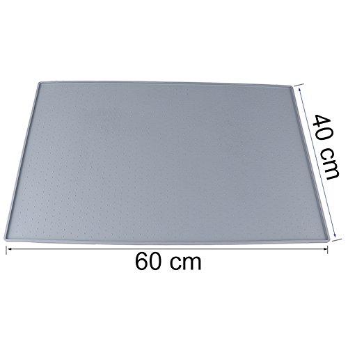 Earthbay Silikon Futtermatten, 60x40CM Tiernahrung Matte Platzdeckchen Wasserdicht rutschfest für Hund Katze (Grau) - 3