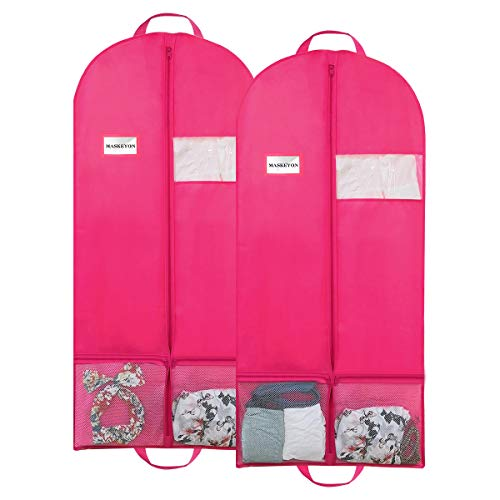 "MASKEYON 51"" Garment Bags with Zipper Pocket for Dance Costume,Wedding Gown,Suit,Garment Bags for Travel and Storage(Pack of 2, Pink)"