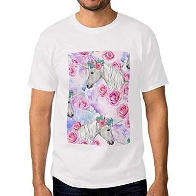 Men's T-Shirt S Crewneck Short Sleeve Soft Unicorn Wearing Rose Wreath Printing Fashion Cotton