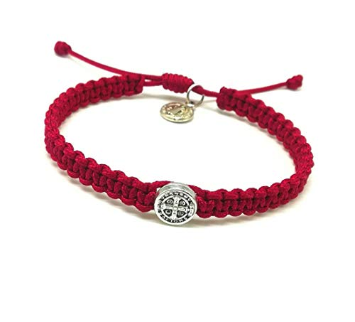 Simple Adjustable Catholic Blessing Bracelet / Saint Michael / St Benedict / Miraculous Medal (ST BENEDICT RED)