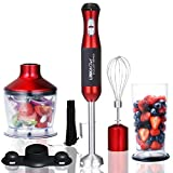 Immersion Blender LINKChef 4-in-1 Hand Blender Stick Powerful Low Noise Large 800ml Beaker, Stainless Steel...