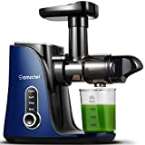 Juicer Machines,AMZCHEF Slow Masticating Juicer Extractor, Cold Press Juicer with Two Speed Modes, 2 Travel bottles(500ML),LED display, Easy to Clean Brush & Quiet Motor for Vegetables&Fruits,Blue
