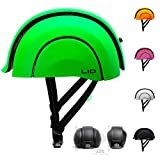 Plico Foldable Recycled Urban Bike Helmet with USB Rechargeable Rear Clip-on Light (London Lime Green)