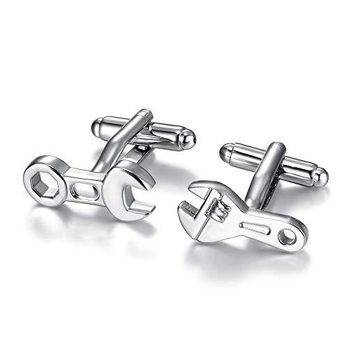 BOBIJOO Jewelry - Paire de Boutons de Manchette Clé Mixte à Molette Mécanicien Chic Soirée Habillée