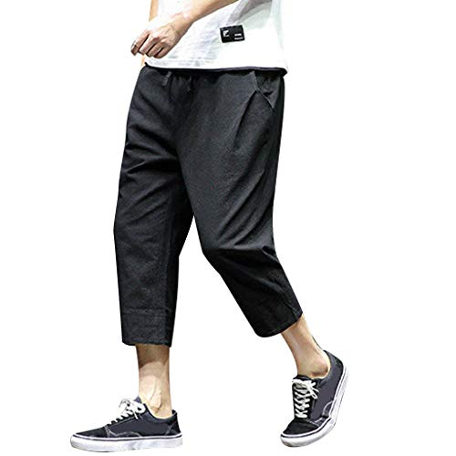 Men's Patchwork Shorts Loose Linen Harem Capri Pants Drawstring Beach Long Shorts Linen Jogging Harem Pants Black