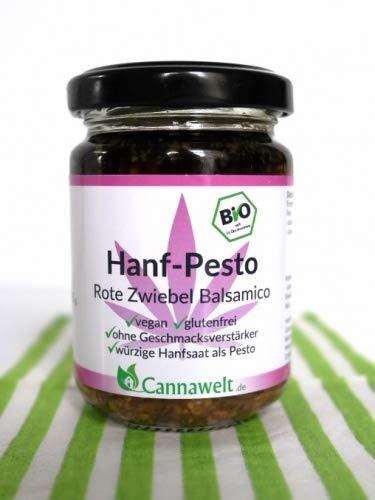 CannaWelt Bio Hanfpesto - Rote Zwiebel mit Balsamico - Würzige Hanfsaat als Pesto - 135g - DE-ÖKO-039