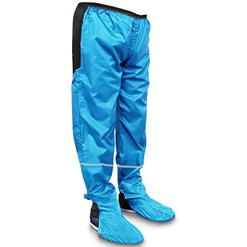 Rainrider Regenhose für Damen und Herren wasserdicht inkl. einfaltbare Schuhüberzieher, Regenfeste Fahrradbekleidung geeignet zum Wandern, Angeln oder als Gartenhose (Horizon Blau mit Reflektor, M)