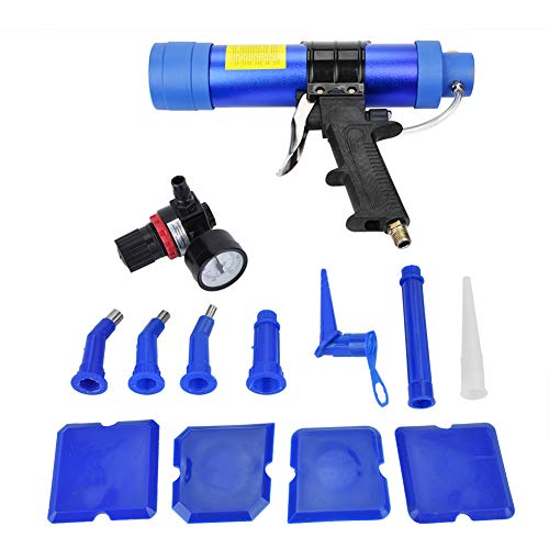 Kit de pistola de sellado de pegamento de vidrio neumático de 310 ml, cartucho de pistola de sellado de pegamento de vidrio ajustable, pistola de aire, pistolas de calafateo manual