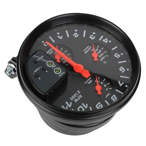 SCITOO Oil Pressure Gauge 5inch 4-in-1 Gauge 0-11K RPM Oil Press Black Face with Oil/Water Temperature Oil Pressure Shift Light Electronic Universal Gauge Meter