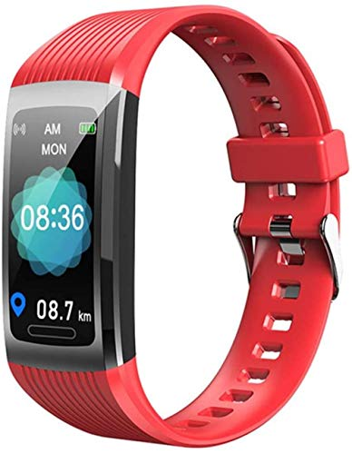 Pulsera deportiva inteligente de seguimiento de la salud de la actividad física bluetooth impermeable de metal pulsera deportiva roja