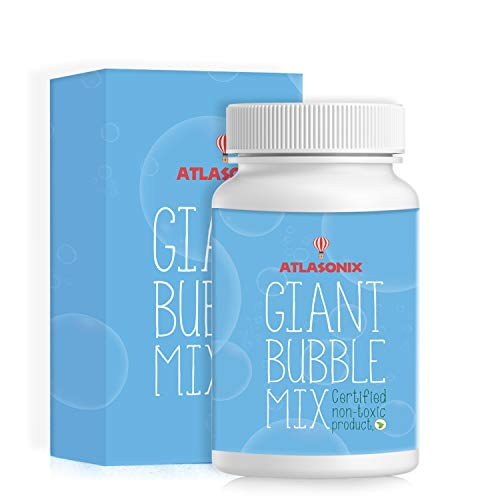 Atlasonix Giant Bubbles Mix - Makes 7 Gallons of Big Pure Bubble Solution for Kids   Non Toxic All Natural Bubble Concentrate for The Largest Bubbles   Birthdays, Outdoor Family Fun