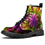 Bennigiry Brote de Flor de Dalia Colorido Botas de caña Alta para Mujer Zapatos clásicos de Invierno Zapatos de Cuero Casuales