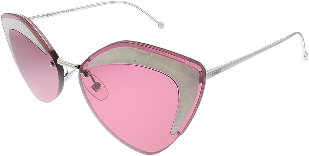 Fendi, occhiali da sole per donna, montatura in metallo, inserti a contrasto sulla parte frontale 0355/S