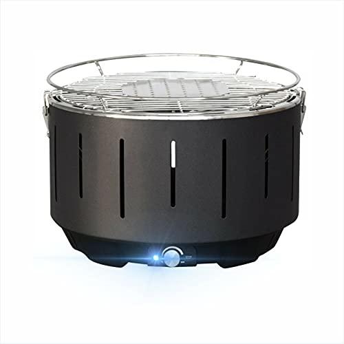Barbecue a carbonella,Griglia Barbecue Carbone Senza Fumo con Interfaccia Mirco e Ventilatore Incorporato,Ventilato,Tre Minuti di Riscaldamento, per Famiglia, Giardino, Balcone,Campeggi