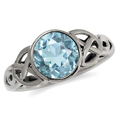 Silvershake 2.41ct. Genuine Blue Topaz 925 Sterling Silver Triquetra Celtic Knot Solitaire Ring Size 7.5
