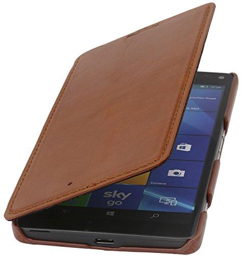 StilGut Book Type Case ohne Clip, Hülle aus Leder für Microsoft Lumia 950 XL / 950 XL Dual SIM, Cognac
