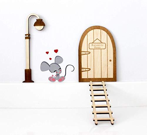 Kit ratoncito Pérez de Vinilo con Puerta, farola y Escalera de Madera para Pintar y Personalizar