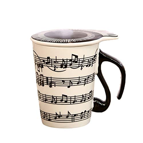 Swiftswan Couple Music Pattern Ceramic Cup Creative Ceramic Music Cup Music Mark Water Cup Couple Keyboard Pair Cup Coffee Cup