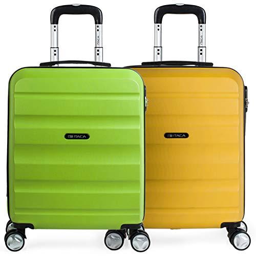ITACA - Pack 2 Maletas de Viaje Rígidas 4 Ruedas 55x40x20 cm Cabina Trolley ABS. Equipaje de Mano. Resistentes y Ligeras. Mango y Asa. Vuelos Low Cost Ryanair, Candado. T71650P, Color Pistacho/Mostaza
