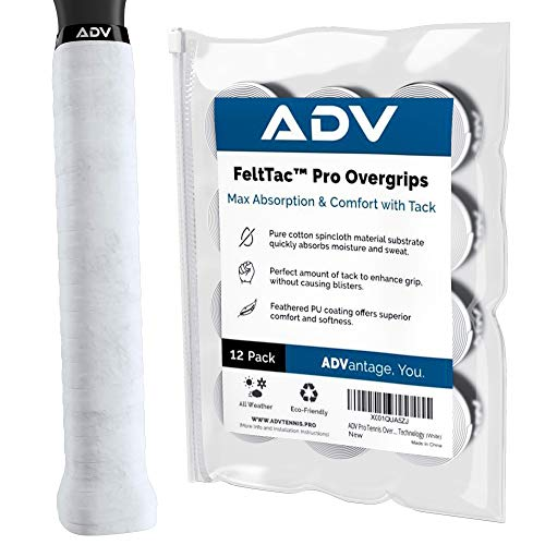 ADV Tennis Dry Overgrip - 12 Pack - Ultra Absorbent Grip Tape with Exclusive FeltTac Material for High Velvety Comfort - Pro Tested & Designed (White)
