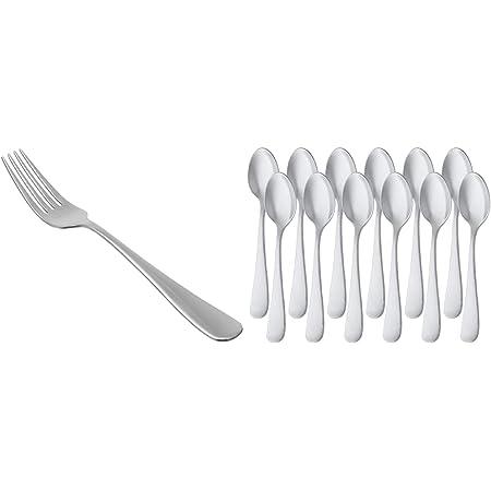 AmazonBasics Service de 12 fourchettes de table en acier inoxydable avec bord arrondi & Cuillère à café en acier inoxydable à bord arrondi, lot de 12