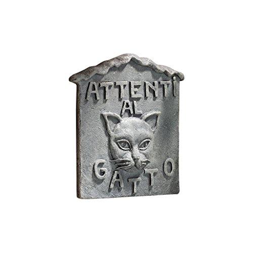 Design Toscano hoed je voor de kat, Italiaanse wandsculptuur: Attenti al Gatto