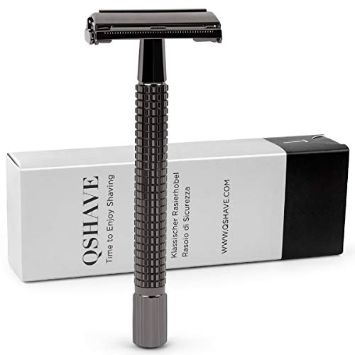 QSHAVE Butterfly Open Long Handle Double Edge Safety Razor, Nostalgic (1 Razor + Leather Protective Sleeve + 5 pcs Titanium Coated Blades)