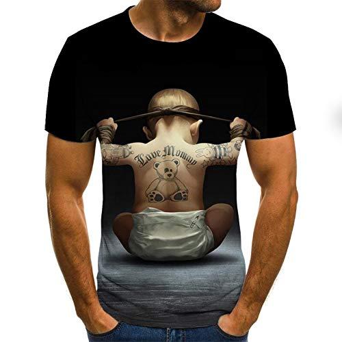 T-Shirt Popula 3D Impression numérique drôle T-Shirt Punky de Coupe Slim, Chemise à Manches Courtes 4XL Txu-1149