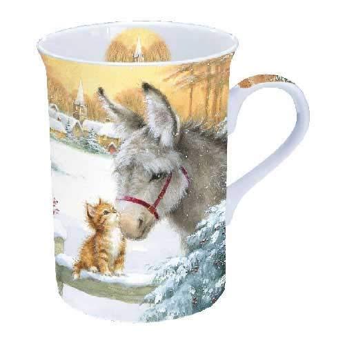Ambiente Tasse mit Esel und Kätzchen aus feinem Porzellan, 0,25 l