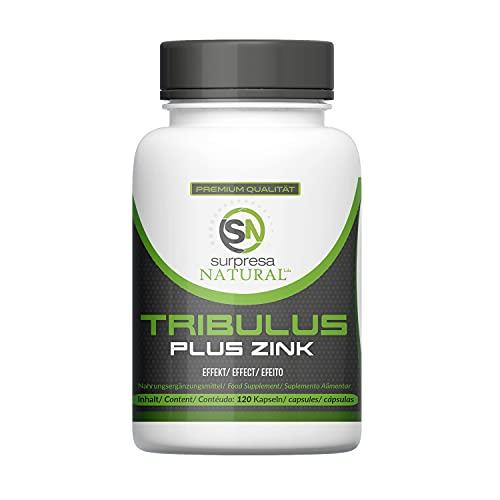 Surpresa Natural® - Tribulus Plus Zink - 120 hochdosierte Kapseln | 100{4c77f7ab169a9b522391d92e99b0e69c2b5c34115cd120fe696a8a2eedd637ba} gesunder & natürlicher Muskelaufbau | Tribulus Terrestris Extrakt | Nahrungsergänzung für Libido & Muskulatur