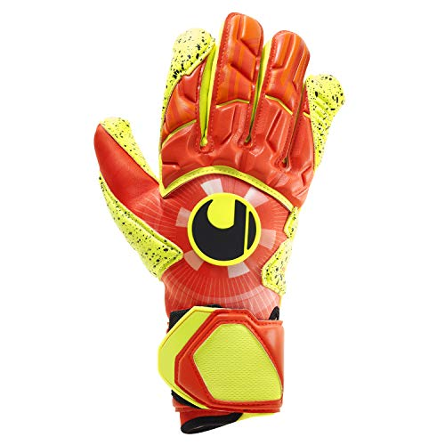 uhlsport Herren Impulse SUPERGRIP HN Torwarthandschuhe, Dynamic Orange/Fluo Gelb, 7.5