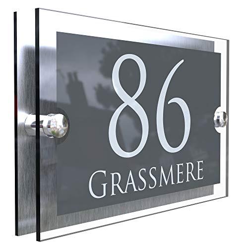 K Smart Sign   Paramount   para5-28wa-s-c   Anthracite Gray & Brushed Aluminium 2 Part House Sign - 200mm x 130mm