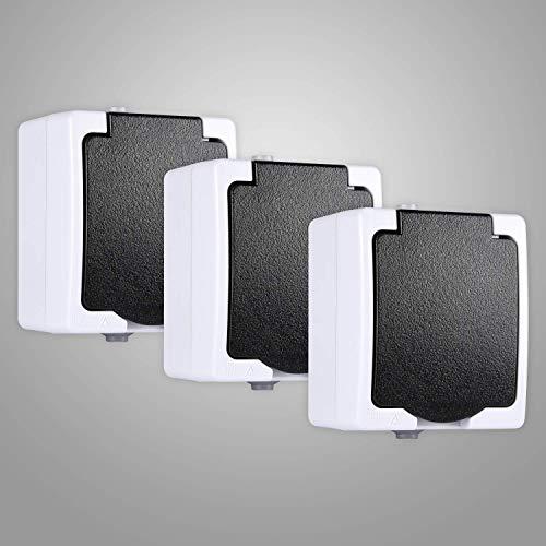 HEITECH Aufputzsteckdose für Feuchtraum IP44-1fach Aufputz Schutzkontakt Steckdose AP mit Klappdeckel - Schutzkontaktsteckdose mit Kindersicherung 250V 16A 2 polig