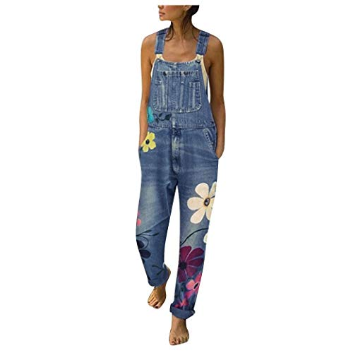 WUAI-Women Denim Overalls Jumpsuit Casual Floral Printed Baggy Loose Bib Jeans Pants Rompers with Pockets(Blue,Large)
