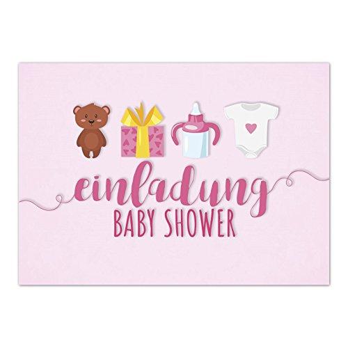 8 x Einladung Baby Shower Party/Einladungskarten mit Umschlag im Set/Motiv: Süße Motive - rosa - Mädchen/Babyparty Karte/Postkarte /