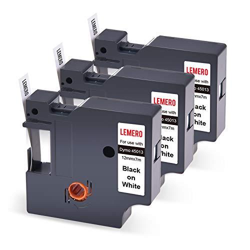 3 LEMERO Compatible DYMO D1 45013 S0720530 Cinta de Etiquetas Negro sobre Blanco para Dymo LabelManager 100 110 120P 150 160 PC2 200 300 350 400 420P 450 LabelPoint 100 150 200 250 300, 12mm x 7m