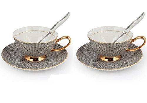 TouchLife Set mit 2 edlen Porzellan-Kaffee-/Tee-Tassen mit Untertassen und Löffel, mit Geschenkbox, Knochenporzellan, Schwarz, 2 Sets, 2 sets