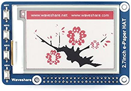 Waveshare 2.7inch E-Ink display HAT for Raspberry Pi three-color SPI interface 264x176 resolution E-paper embedded controller Compatible with Raspberry Pi 2B/3B/Zero/Zero W