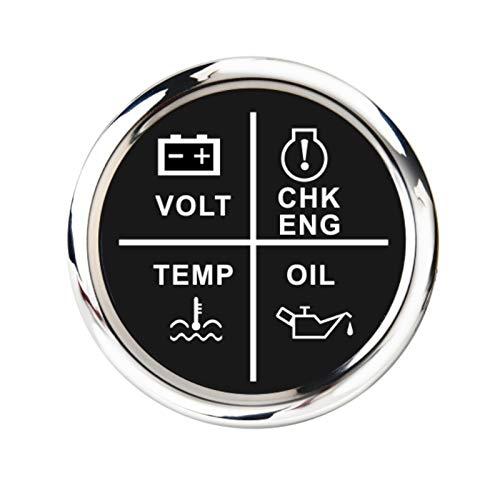Iinger 52 mm Medidor de Alarma Medidor Volt/Presión de Aceite/Tempera DE Agua/Motor DE Cheque 4 LED Indicador de Alarma Indicador Ajuste para Barco Marino Coche 9~32 V (Color : Black Silver)