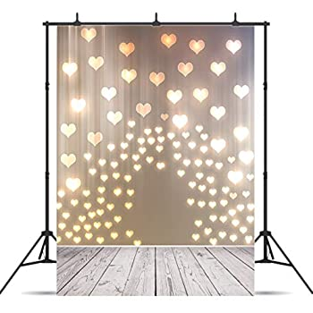 CYLYH 5x7ft Valentine s Day Background Love Heart Pattern Photography Backdrops Wood Floor Photo Studio Booth Background Props 142