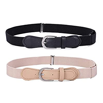 JASGOOD Kids Elastic Adjustable Belts, Stretch Belts for Boys and Girls with Leather Closure 2 Pack,Black+Khaki,Suit for Pants Size 20-28 Inches