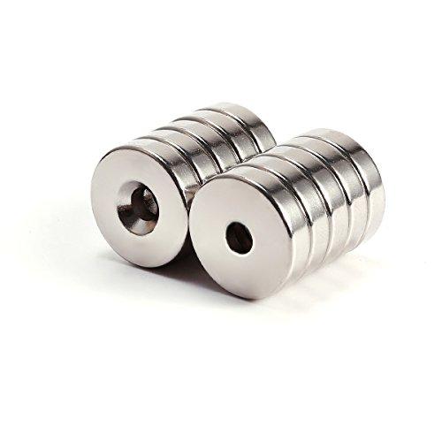 10er Extrem Starke N50 Neodym Runde Scheibe Magnete mit Loch 20 * 4mm Pinnwand Kühlschrank Büro