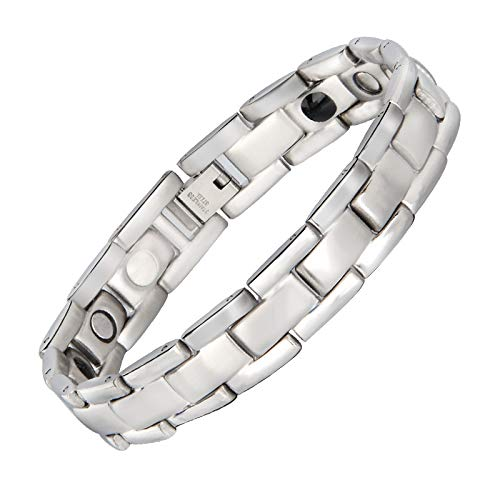 Lgwj 4 in 1 Bio Elements Energy Magnetisches Titan Armband mit Germanium Pulver, Mode Edelstahl Carbon Black Magnetic Herren Armband Pulsera Magnetic Therapy,B