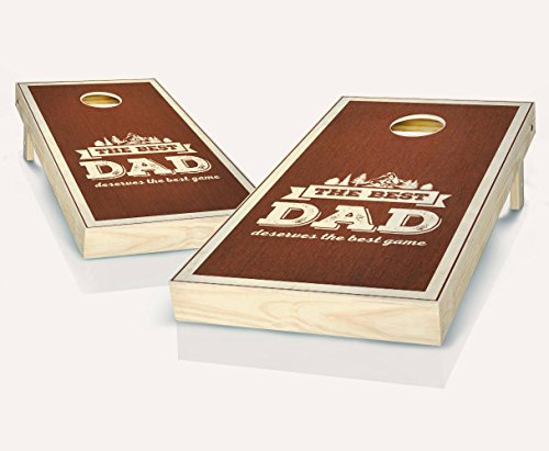 Best Dad Rosewood Stained Custom Cornhole Boards Regulation Size Game Set Baggo Bean Bag Toss + 8 ACA Regulation Bags